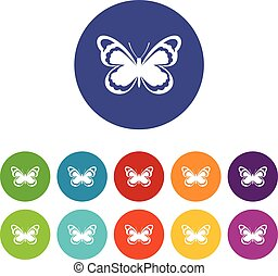 Small butterfly set icons in different colors isolated on...