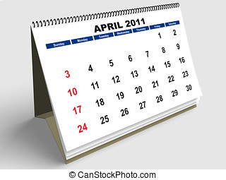 April English - April sheet in a Calendar for 2011 3d render...