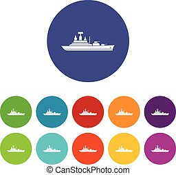 Warship set icons in different colors isolated on white...