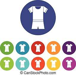 Sport shirt and shorts set icons in different colors...