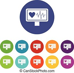 Heartbeat set icons in different colors isolated on white...