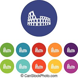 Roman Colosseum set icons in different colors isolated on...