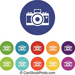 Photocamera set icons in different colors isolated on white...