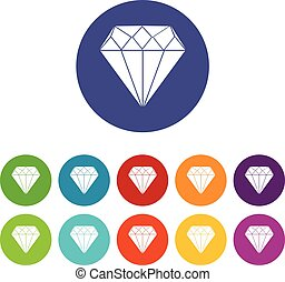 Diamond set icons in different colors isolated on white...