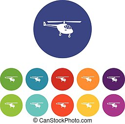 Helicopter set icons in different colors isolated on white...