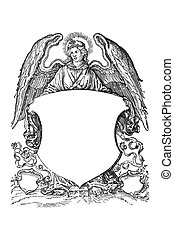 Angel with coat of arms