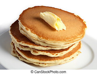 Pancakes and butter - A pile of pancakes with a dollop of...