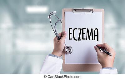 paciente, gente, Muchos, eczema, dermatitis, piel, problema...