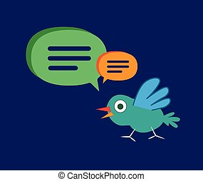 Cute Cartoon Bird with Speech Bubbles