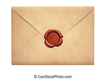 Old letter envelope with red wax seal isolated on white