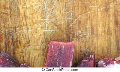 sliced meat on the table close up