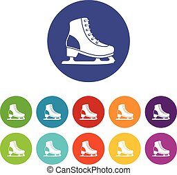 Ice skate set icons in different colors isolated on white...