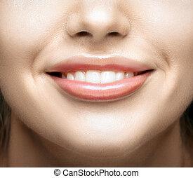 健康, 微笑, 婦女, 牙齒