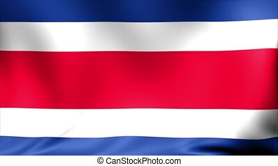 Costa Rica Flag. Background Seamless Looping Animation.