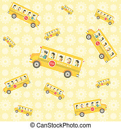 pattern background of school bus with kids