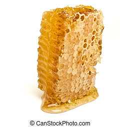 Natural Honeycomb from low perspective isolated on white