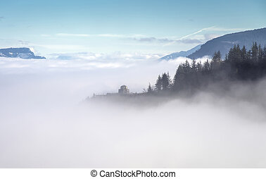 Fog in the valley Columbia River Gorge Oregon.