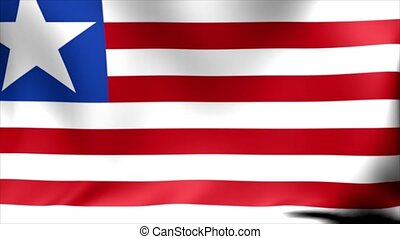 Liberia Flag. Background Seamless Looping Animation. 4K High...