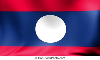 Laos Flag. Background Seamless Looping Animation. 4K High...