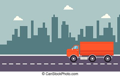 Vector art of red delivery truck