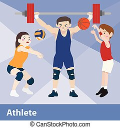 Athletic sport vector cartoon illustration set