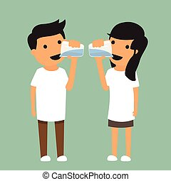 man and woman drink enough water in health concept. vector illustration.