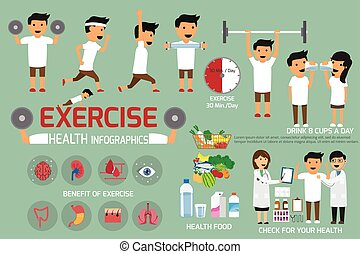 Exercise or sport for health and check your body infographics. vector illustration.