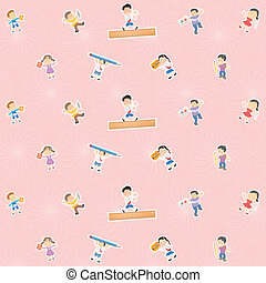 pattern background of kids with stationery items