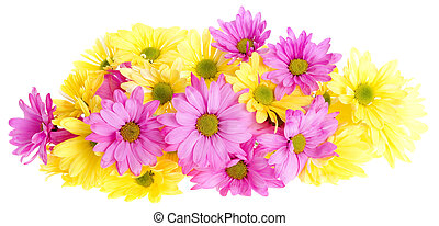 Yellow and pink daisies - Floral arrangement of yellow and...