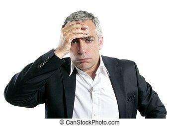gris, pelo, triste, preocupado, 3º edad, hombre de...