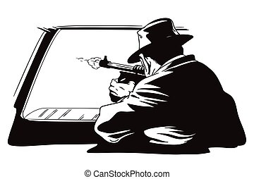 People in retro style. Gangster shoots out of car window. -...