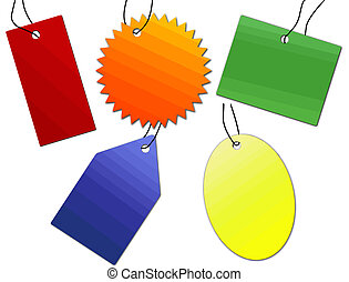 multicolored labels set - Collection of colored labels prise...