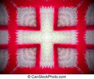 Red and white extruded mandala - Extruded small squares...
