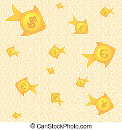 pattern background of fish currency