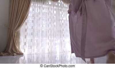 Young Woman In Panties Opening Curtains - Woman Opening...
