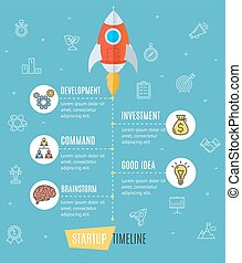Space Ship Start Up Infographic. Vector - Space Ship Start...