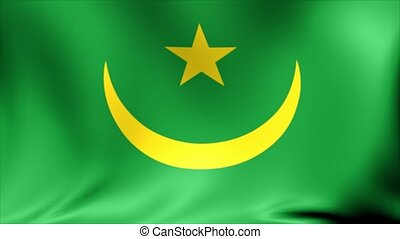 Mauritania Flag. Background Seamless Looping Animation. 4K High Definition Video.