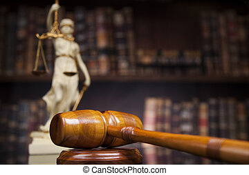 Antique statue of justice, law, books background - Judge...