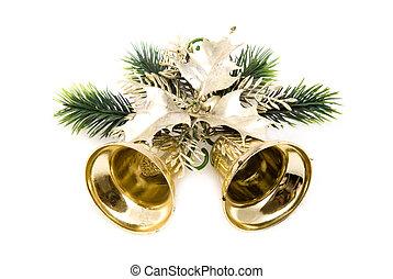 Christmas golden bell on white background