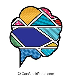 colorful cloud callout with cumulus in pop art vector...
