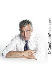 businessman senior glasses portrait portrait white desk