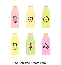 Six different bottles with nice or smoothie.
