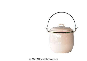 Creamy white enamel pot, vintage and retro kitchenware