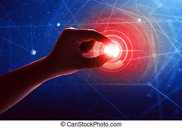 Toccante, futuro, tecnologia, mano