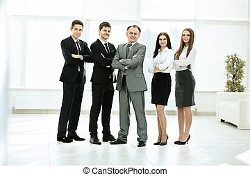 successful business team on a background of bright, modern office
