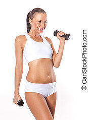 Fitness sexy woman working out with free weights isolated on...