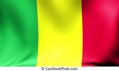 Mali Flag. Background Seamless Looping Animation. 4K High...