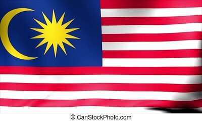 Malaysia Flag. Background Seamless Looping Animation.