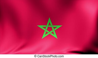 Morocco Flag. Background Seamless Looping Animation.