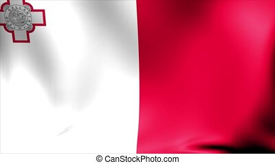 Malta Flag. Background Seamless Looping Animation. 4K High...
